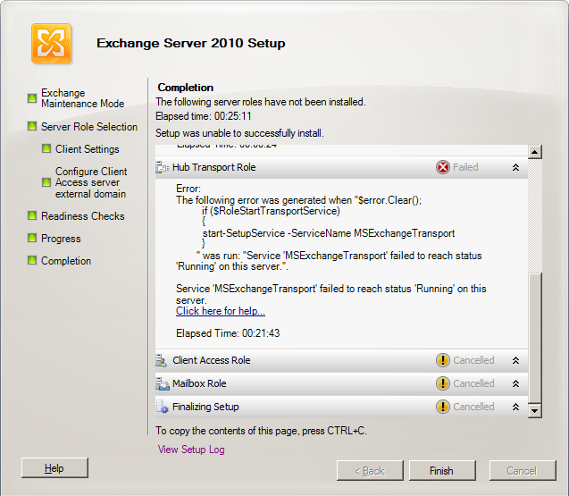 getting the error: Service 'MSExchangeTransport' failed to reach status 'Running' on this server.