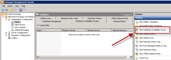 Create a new Exchange Server 2010 Database Availability Group