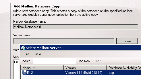 Add Mailbox Database Copies to an Exchange Server 2010 Mailbox Server
