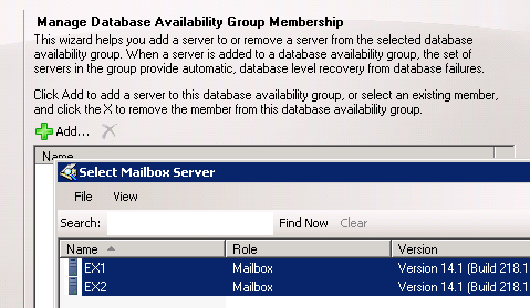 Select Mailbox Servers to become Database Availability Group Members