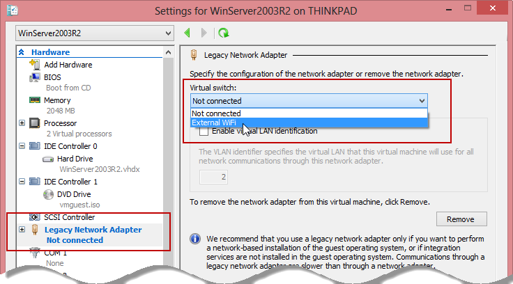 Connecting a Legacy Network Adapter to an External Virtual Switch in Hyper-V